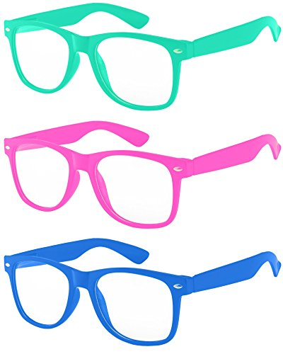 3 Pack Kids Clear Lens Green Glasses Protect Child's Eyes Turquoise Pink Blue