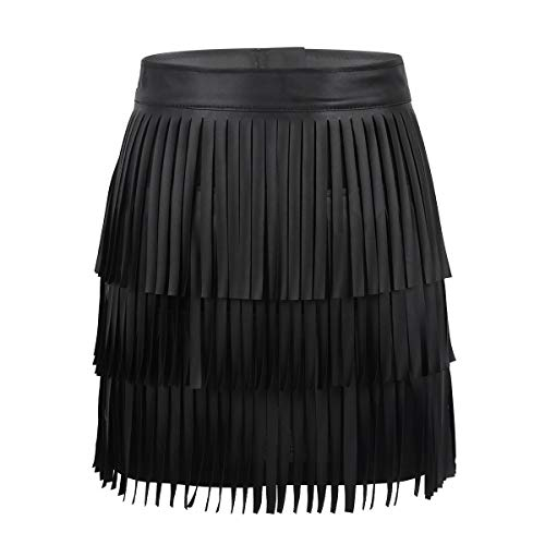 - Alvivi Women's Adjustable Waistband Faux Leather Fringe Dress Belt Gypsy Style Tassel Skirt Black Bodycon Small