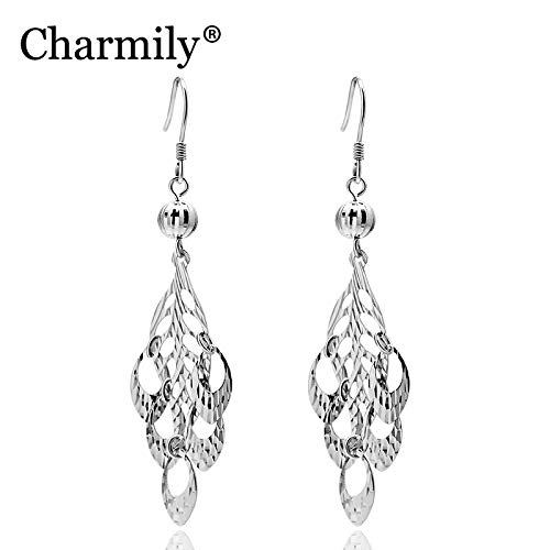 Charmily Authentic Sterling Cut Out Leaf with Hollow Oval Drop Earrings | for Party Bar Holiday | Big Size