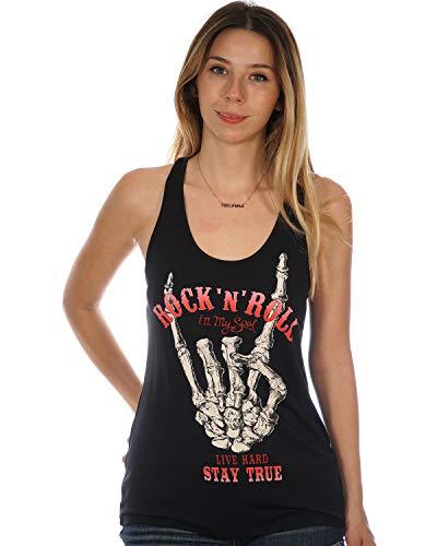 Rock 'N' Roll in My Soul Live Hard Stay True Skeleton Hand Women's Tank Top Medium Black