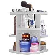 #LightningDeal 53% claimed: Becoyou Makeup Organizer 360° Rotating Acrylic Cosmetic Storage Case Revolving Shelf Display Make Up Storage Tower Rack Adjustable 5 Layers, White