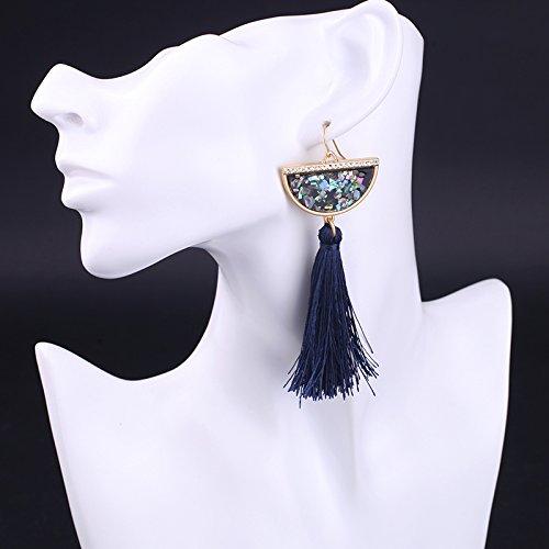 JD Million shop Hyperbole Black Red Tassel Earrings Big Earrings for Women New Fashion Ethnic Jewelry Accessories