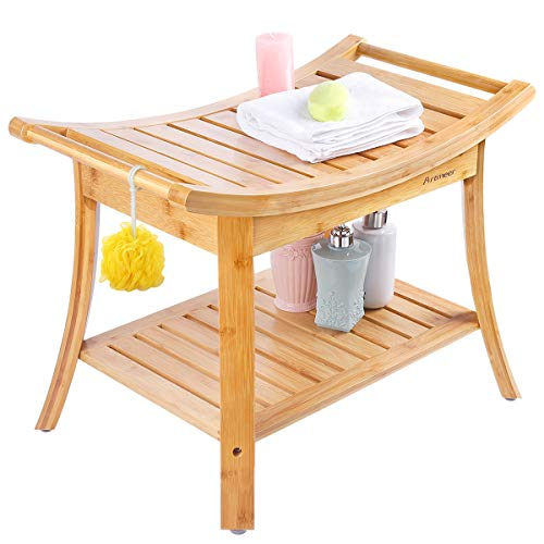 - Shower Bench with 2-Tier Storage Shelf,Deluxe Bamboo Shower Bench Bath Stool Applicable to Bathroom or Living Room
