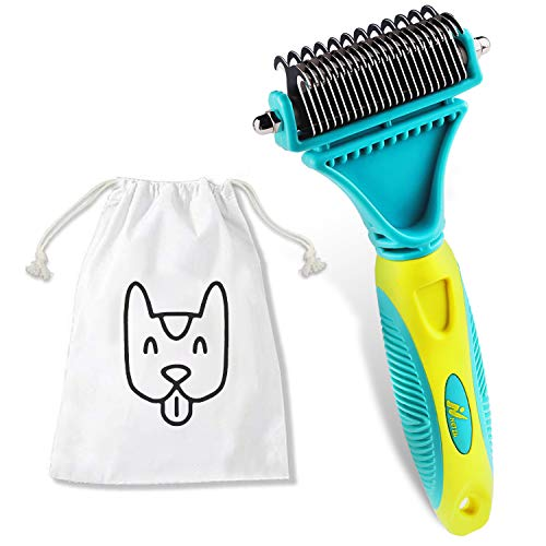 Netzu Pet Grooming Dematting Brush Set, New Upgraded Dog Cat Pet Brush Grooming Deshedding Tool with 2 Sided…