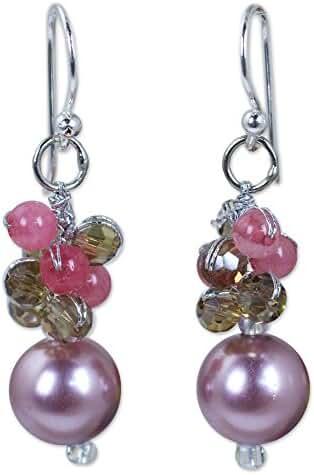 NOVICA Quartz Silver Plated Beaded Hook Earrings 'Full Moon in Purple'