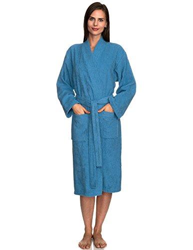 (TowelSelections Women's Robe Turkish Cotton Terry Kimono Bathrobe Small/Medium Parisian Blue)