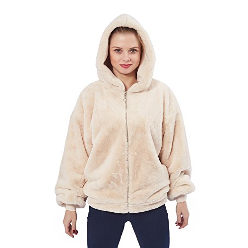 Merecho Women's Plush Faux Fur Zip up Hooded Winter Jackets With Rib Cuff and Hem Khaki XL (Pants Cuff Hem)