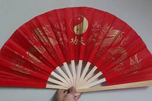 Sugar_Shopping Fan Hand Folding Bamboo Chinese Wedding Party Flower Wooden Red Chinese Kung Fu Dragon Martial Art Fan Pattern Vintage Floral Fabric Asian Gift