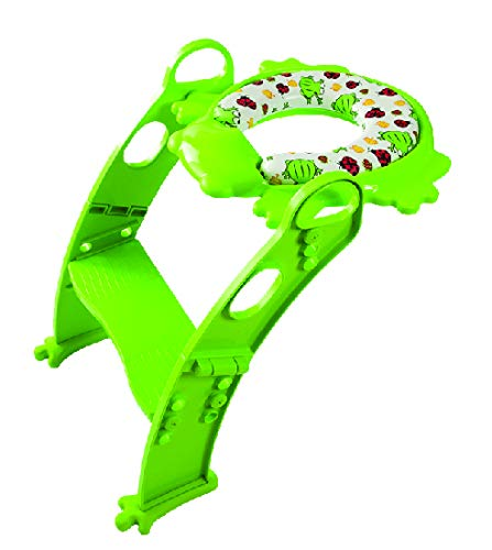 Potty Training with Ladder. Toilet seat with Cushion. Mr Frog Original! Great Helper for Toddlers - 6 Colors! (Green)
