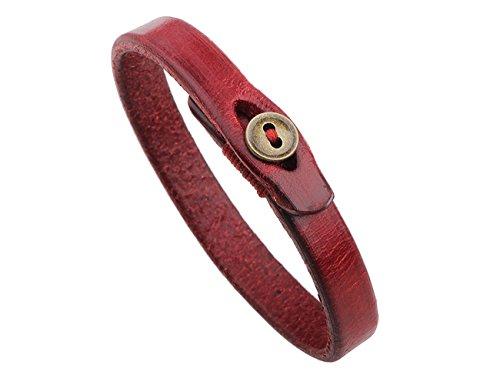 Konalla Copper Clasp Simple Genuine Leather Unisex Wristband