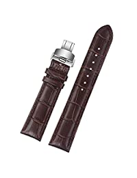 ViuiDueTure (12mm-22mm) Brown Luxury Business Classic Calfskin Leather Strap Replacement Watch Band Silver Deployment Buckle (14mm)
