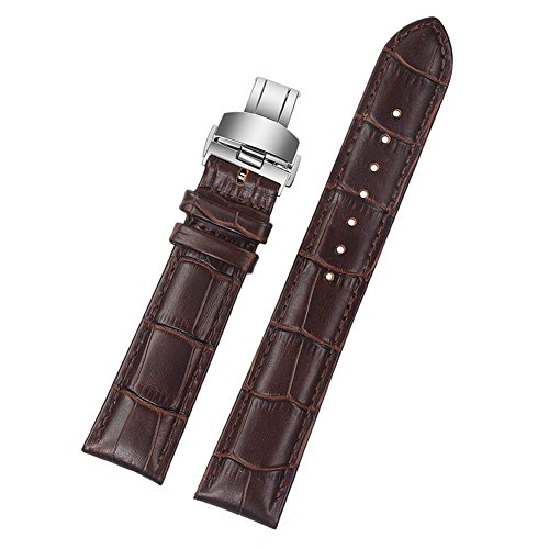ViuiDueTure (12mm-22mm) Brown Luxury Business Classic Calfskin Leather Strap Replacement Watch Band Silver Deployment Buckle (22mm) by ViuiDueTure
