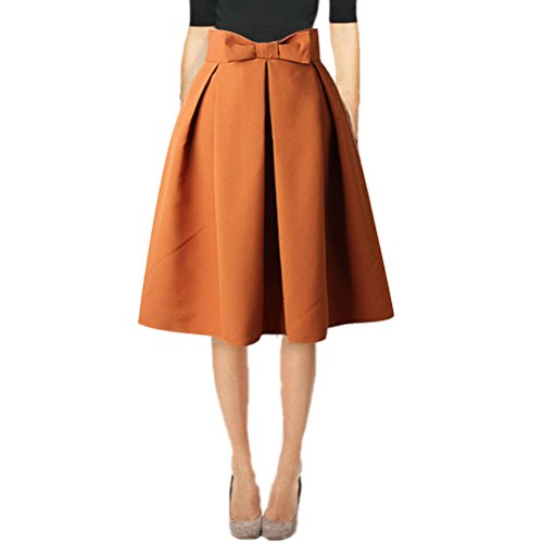 Hanlolo Ladies High Waisted Skirts Pleated Flared Full Circle Skirts Dress Brown