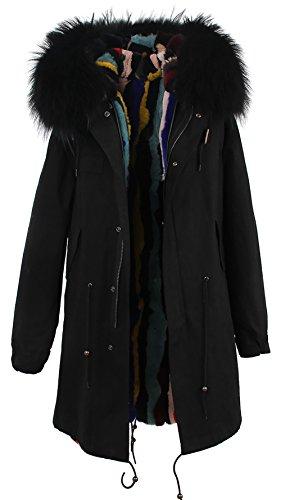 abbit Fur Parka Upscale Long Hooded Coat Detachable Jacket Real Fur Liner (Large, Black) (Detachable Jacket Liner)