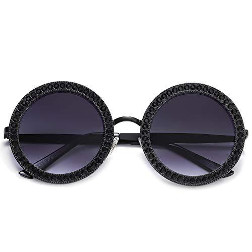 SOJOS Round Oversized Rhinestone Sunglasses for Women Festival Sunglasses SJ1095