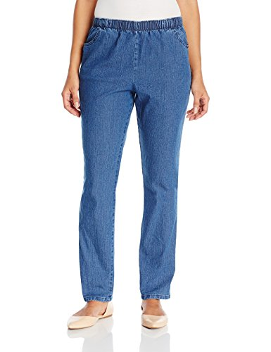 Chic Classic Collection Women's Stretch Elastic Waist Pull-On Pant, Mid Shade Denim, 12P