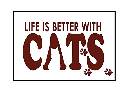 Life is Better With Cats - Sentiment (24x16 Framed Gallery Wrapped Stretched Canvas) by Lantern Press