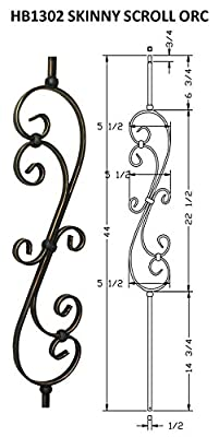 """Hollow Metal Stair Baluster Spindle Scroll 1/2"""" X 44"""" (Box of 5) ..."""