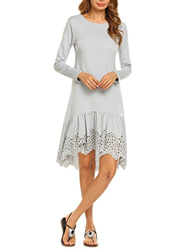 Autumn Lace Hollow Out Slim Party Dresses(Grey) - 4
