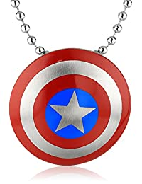 Marvel Comics Unisex Captain America Stainless Steel Chain Pendant Necklace, 24""