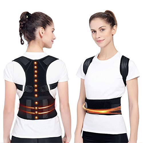 (Magnetic Posture Corrector Back Brace, Magnetic Therapy Support for Back Neck Shoulder and Upper Back Pain Relief Perfect Posture Brace for Cervical and Lumbar Spine Fully Adjustable Belt and Straps )