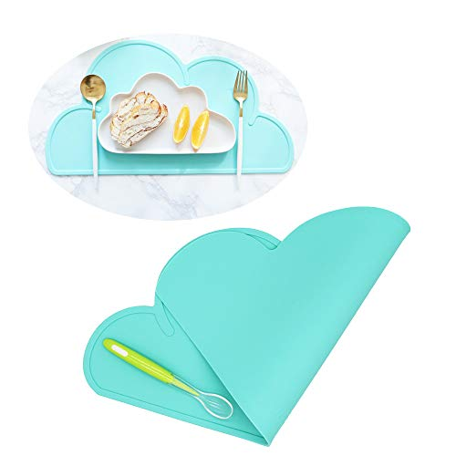 Silicone Baby Placemat - Kids Reusable Travel Placemat Tiny Diner Portable Roll Up Washable Restaurant Food Meal Mat for Toddler Child Infant Including Spoon (Light Teal)