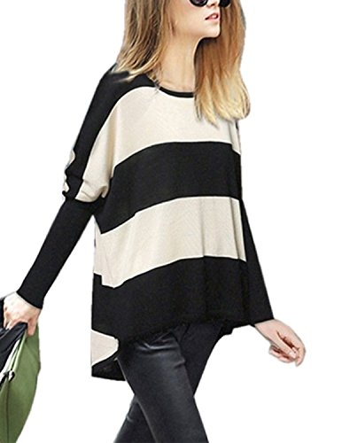 M-Queen Mujeres Jersey a Rayas de Manga Batwing Camisa Suéter Para Otoño Invierno Pullover Tops