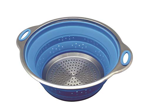 (Sailing Premium Collapsible Silicone Colander/Strainer with Stainless Steel Base, Spaghetti and Pasta Strainer)