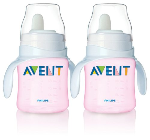 Philips Avent BPA Free Classic Bottle to First Cup Trainer, 2 Pack - Pink