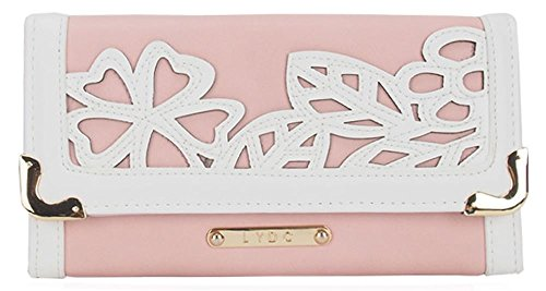 LYDC 3D Floral Pattern Matinee Ladies Large Purse Wallet - Pink & White ()