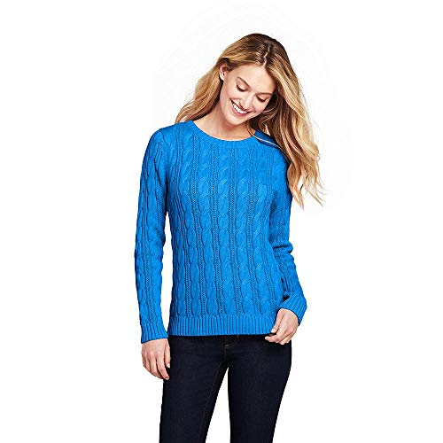 Lands' End Women's Drifter Cotton Cable Knit Sweater Crewneck, L, Cyan Blue ()