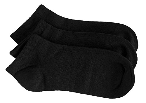 Rambutan Kids Comfort Seam Plain Color Bamboo School No Show Socks (3 Pack) (13-2, Black) - Kids 3pk No Show Sock