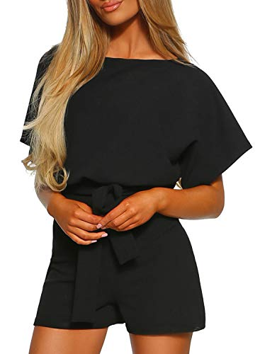 Happy Sailed Women Casual Loose Belted Short Pants Romper Jumpsuits Small Black Small Black