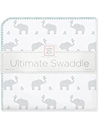 SwaddleDesigns Ultimate Receiving Blanket, Elephant & Chickies, Sunwashed Aqua