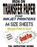 Inkjet Printable Iron On T Shirt & Fabric Transfer Paper For Light Fabrics 50 A4 Sheets