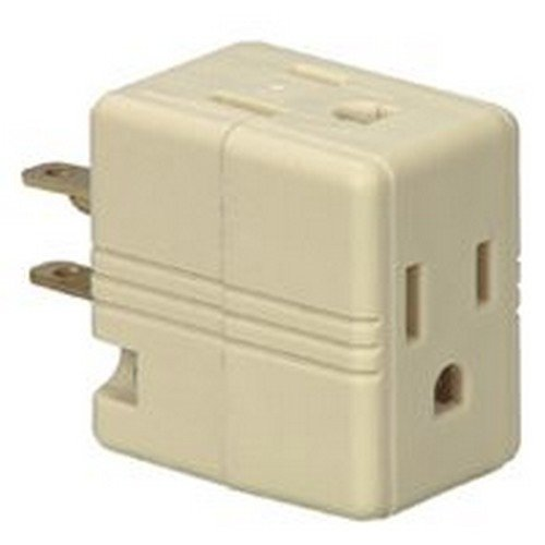 Wht 3outlet 3wire Gnd Cube (Gnd Tap)