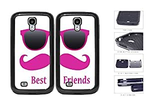 Best Friends Pink Mustache Sunglasses 2-Piece Dual Layer High Impact Rubber Silicone Cell Phone Case Samsung Galaxy S4 SIV I9500