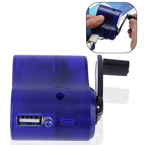 Baynne USB Travel Emergency Phone Charger Dynamo Hand Manual Charger Blue (Wind Charger Phone)