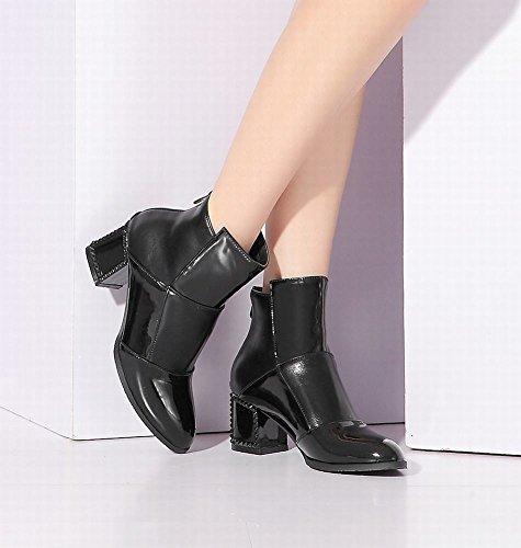 Mee Shoes Damen Reißverschluss mehrfarbig chunky heels Stiefel Schwarz
