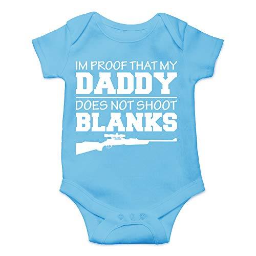 - CBTwear I'm Proof That My Daddy Does Not Shot Blanks - Hunting Buddy - Cute Infant One-Piece Baby Bodysuit (Newborn, Light Blue)