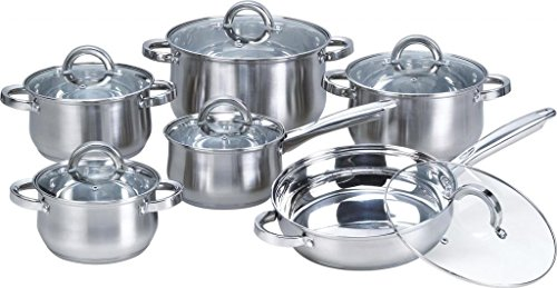 Heim Concept W-001 12-Piece Induction Ready Stainless Steel Cookware Sets with Glass Lid, Silver on Cookware Sets Stainless Steel | Cookware Sets on (Glass Steel Casserole)