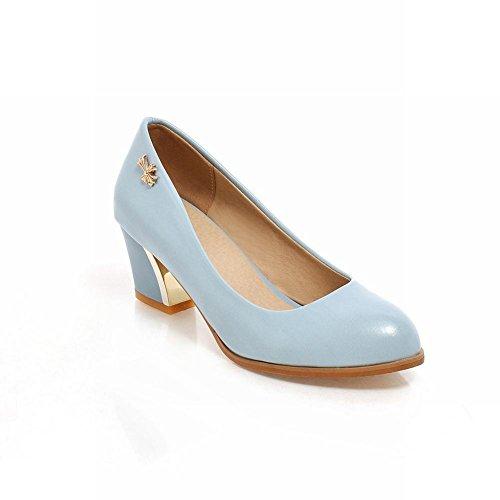 Carolbar Femmes Élégance Mode Métal Croix En Forme De Décoration Mi-talon Robe Pompes Chaussures Bleu