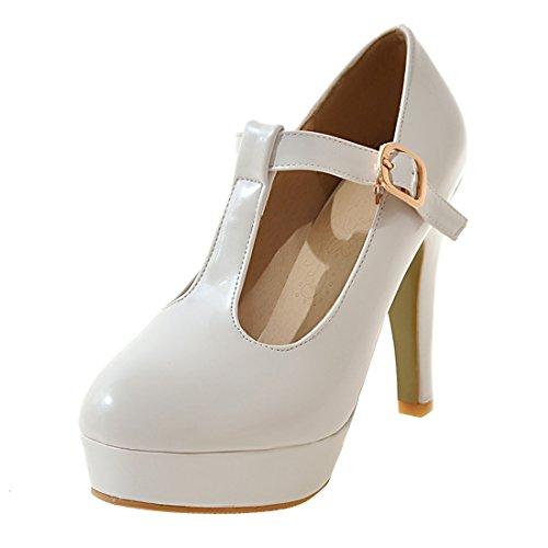 YE Damen T Strap Pumps Blockabsatz High Heels Plateau Geschlossen mit Riemchen Elegant Schuhe Weiß