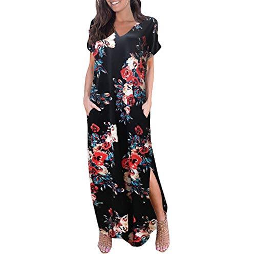 aihihe Boho Maxi Dresses for Women Summer Plus Size V Neck Short Sleeve Floral Print Beach Dress with Pocket (001 Black,XL) -