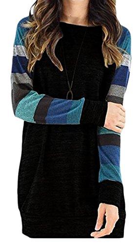 Cruiize Womens Douille Ralgan Élégante Robe Tops Midi Blouse T-shirts Black1