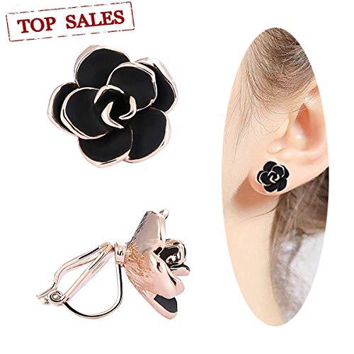 Clip-on Earrings, 16mm Rose Flower Non Pierced Handmade Clip Earrings for Women Girls With Free Gift Box (Rose Flower Gold)