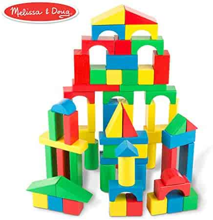 Melissa & Doug Wooden Building Blocks Set (Developmental Toy, 100 Blocks in 4 Colors and 9 Shapes, 13.5