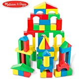 "Melissa & Doug Wooden Building Blocks Set (Developmental Toy, 100 Blocks in 4 Colors and 9 Shapes, 13.5"" H x 3.5"" W x 9"" L)"