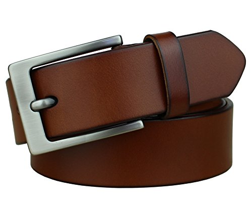 Bullko Mens Casual Genuine Leather Dress Belt Jeans Classic Brown ()