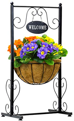 Sorbus Welcome Planter Basket Stand with Coco Liner, Stylish Flower, Plant, and Outdoor Décor for Home, Garden, Patio…